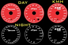 Kawasaki ZX-14 Ninja 2006-2011 Illumiglo Gauges 2007 2008 2009 2010 06 07 08 09 10 11 glow glowing zx14 red