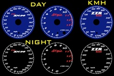 Kawasaki ZX-14 Ninja 2006-2011 Illumiglo Gauges 2007 2008 2009 2010 06 07 08 09 10 11 glow glowing zx14 blue