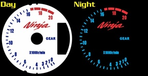 Kawasaki ZX 6 RR ZX6RR ZX6 RR ZX6R ZX6 R 2007 2008 07 08 WHITE FACE Reverse Style Illumiglo Gauges