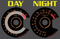 Suzuki GSXR 750 GSXR750 GIXXER 08 09 2008 2009 Reverse Style Black & Orange Face Illumiglo Gauges